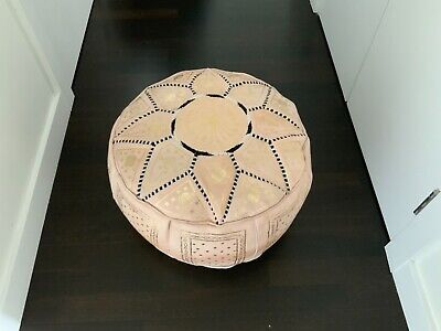 Moroccan Cream And Gold Leather Hand Stitched Pouffe • 42.99£
