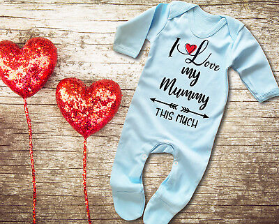I Love You Mummy This Much Blue Baby Grow Rompersuit Sleepsuit Mother's Day • 12.95£