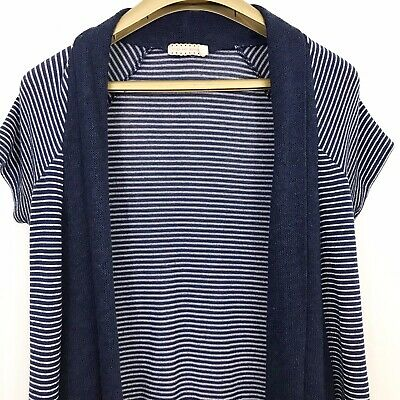 $ CDN26 • Buy Pins And Needles Women Top XS Blue Striped Short Sleeve Open Front Anthropologie