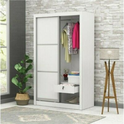 AU249 • Buy Sliding Wardrobe Aluminum Framed Doors + Lockable Drawer WHT