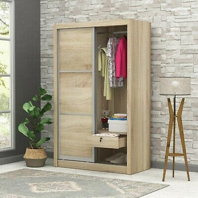 AU249 • Buy 3 Door 2 Drawer Wardrobe Matt Full Oak Effect Bedroom Storage Cabinet Organizer
