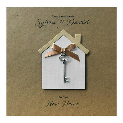 Personalised New Home Card Handmade - Key Charm • 4.95£