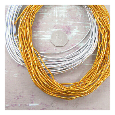 $ CDN7.55 • Buy 2mm ROUND GOLD SILVER ELASTIC MILLINERY CRAFT STRETCHY ELASTICATED CORD