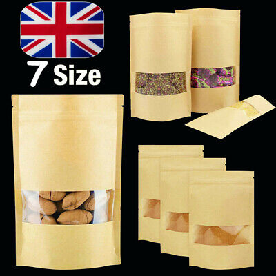 100x Kraft Paper Zipper Bag Window Display Stand Up Pouch Resealable Heat Seal • 12.89£