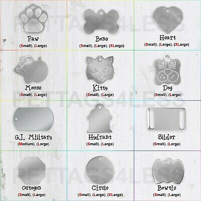$4.99 • Buy Personalized Stainless Steel Custom Pet Name ID Tags For Cat & Dog Deep Engraved