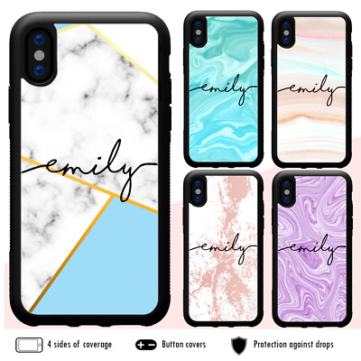 AU11.99 • Buy IPhone 11 Pro Max XS X 8 7 6 Plus SE Shockproof Case Marble XI Personalised Name