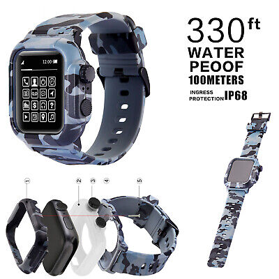 $ CDN28.04 • Buy For Apple Watch Series 5 4 3 2 Case 42/44mm Camouflage Silicone Band Sport Strap