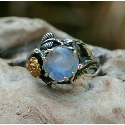 $49.95 • Buy Hand Carved Round Blue Moonstone Flower Rose Ring Women Jewelry Size 6 To 9