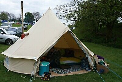 £482.40 • Buy 4M Waterproof Outdoor Canvas Bell Tent Yurt Glamping Camping Family  Stove Jack