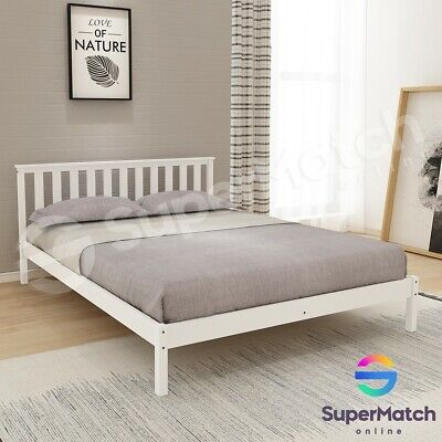 AU149.59 • Buy Queen Size Wooden Bed Frame White Pine Mattress Base Timber Bedroom Furniture