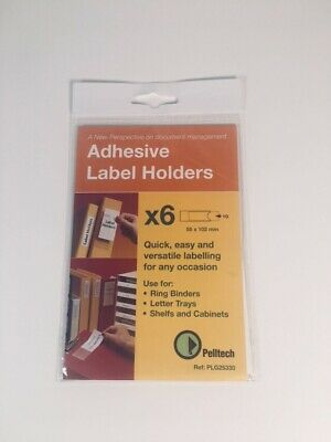 Pelltech Adhesive Label Holders White Card Inserts 55x102mm Lever Arch Box File • 5.50£
