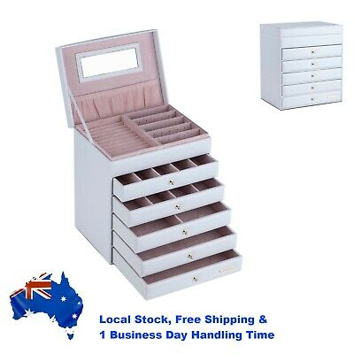 AU66.99 • Buy Large Jewellery Box Earring Rings Necklace Storage Case 5 Drawers Organiser Gift