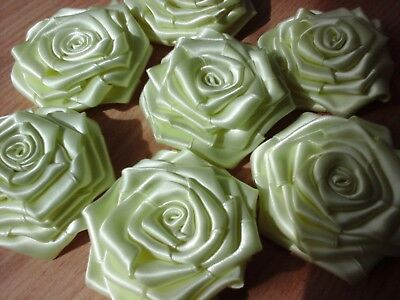 Large Satin Ribbon Roses Buds Size70-75 Mm Flowers For Dress Corsage Wedding De • 5.49£