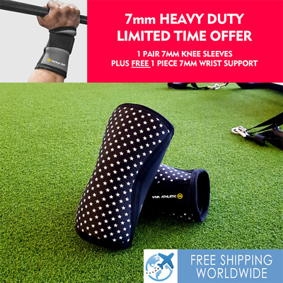 AU45 • Buy Knee Sleeves 7mm Supports Tendonitis Sbd Powerlifting Squats Patella Superstar