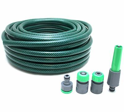 30m Reinforced Garden Hosepipe With Fittings Hose Reel Pipe Water Tough Path New • 12.49£