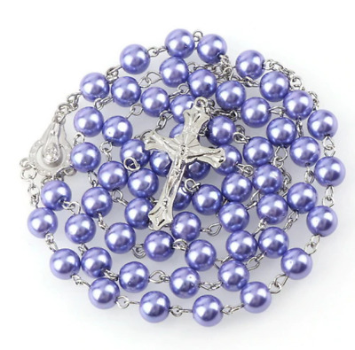 £4.99 • Buy FIRST HOLY COMMUNION ROSARY BEADS For Boy Girl Blue Silver Ivory Rosaries +BAG