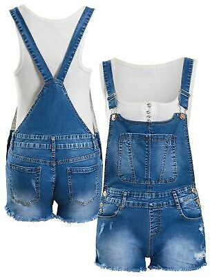 Dungaree Shorts Stretch Denim Blue Girls Age 7 8 10 12 14 16 Years Playsuit • 16.95£