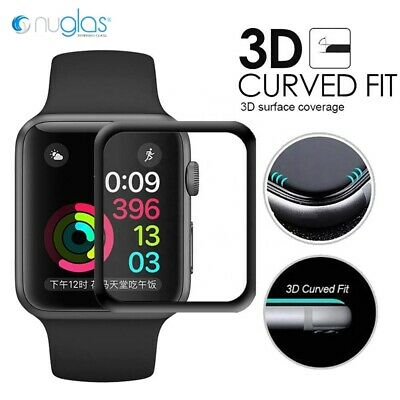 AU7.95 • Buy Nuglas 3D Curved Full Cover Tempered Glass Screen Protector For Apple Watch 1234