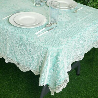 $6.42 • Buy IVORY 54x72 RECTANGLE Floral LACE TABLECLOTH Wedding Party Catering Kitchen SALE