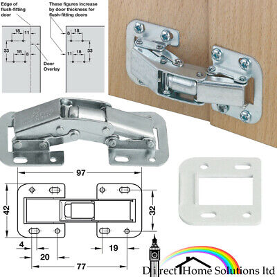 £5.06 • Buy 2 Pcs X 90 Degree Easy Mount Concealed Hinge Sprung Or Unsprung Or Spacer Plates