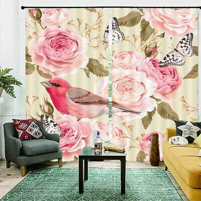$133.20 • Buy Pink Feather Magpie 3D Curtain Blockout Photo Printing Curtains Drape Fabric