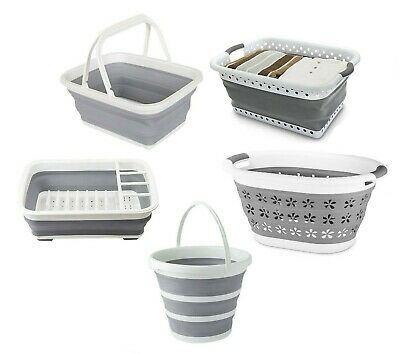 £10.95 • Buy Collapsible Silicone Folding Bucket Basket Dish Drainer Rack Plastic Storage New