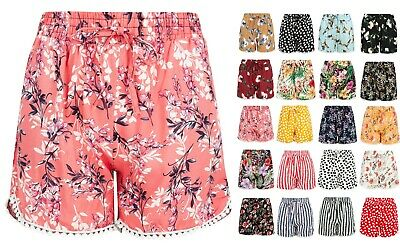 Ladies Girls Shorts Lounge Cotton Elasticated Waist Size Spring Summer Beach  • 6.95£