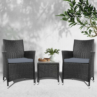 AU198.90 • Buy Gardeon Patio Furniture 3 Piece Outdoor Setting Bistro Set Chair Table Wicker