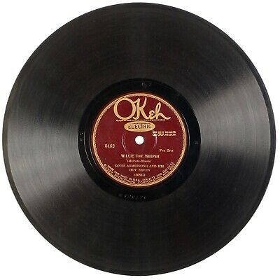 LOUIS ARMSTRONG: Willie The Weeper US OKEH 8482 Hot Jazz Race 78 Hear • 100$