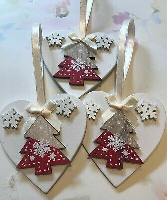 3 X Nordic Christmas Decorations Shabby Chic Wood Heart Tree Bows Cream Red • 5.99£