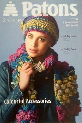 KNITTING/CROCHET PATTERN PATONS 3872 - SCARF & HAT In FAB BIG COLOUR • 2.80£