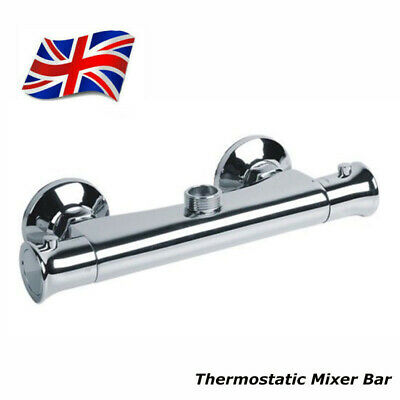 Thermostatic Bar Mixer Shower Valve Bar Tap Top 3/4  Outlet Wall Mounted Faucet • 26.89£