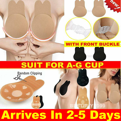 Invisible Breast Lift Silicone Nipple Covers Push Up Bra Tape Sticker Rabbit Pad • 4.49£