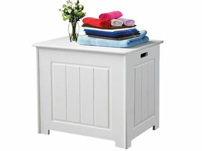 White Wooden Bathroom Storage Organiser Laundry Unit Box Furniture New • 26.97£