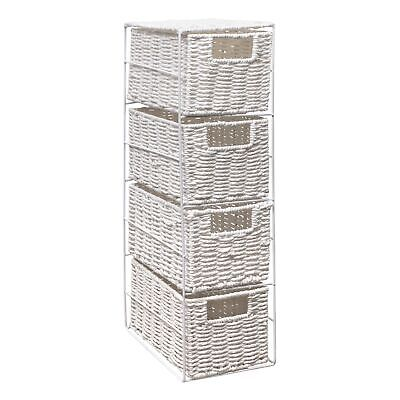 4 Drawer Paper Rope Tower Storage Unit With Metal Frame, Ideal For Small Storage • 22.99£