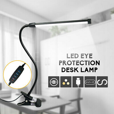 AU22.96 • Buy Modern Clip On LED Desk Lamp Eye Care USB Power Dimmable Light Adjustable Clamp