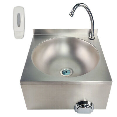 Commercial Knee Operated Hand Wash Sink Stainless Steel Kitchen Basin &Tap  • 119£