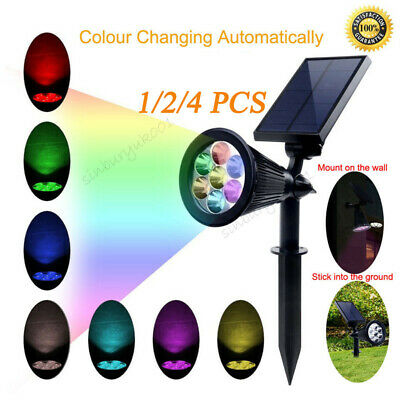 7 LED Solar Spot Lights Color Changing Garden Light Outdoor Waterproof Yard Lamp • 11.99£