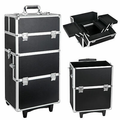 Aluminum 3 In 1 Rolling Makeup Train Case Professional Beauty Cosmetic Trolley • 69.97$