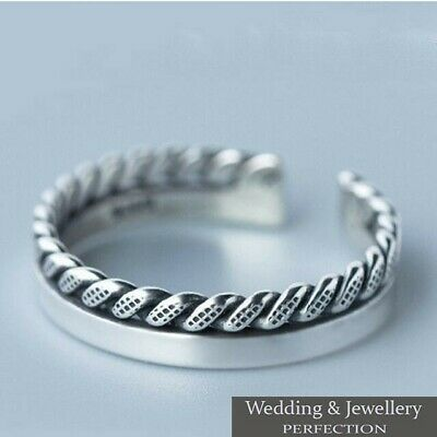 £7.95 • Buy 100% 925 Sterling Silver Ladies  Ring Band Open Finger Fully Adjustable Jewelry