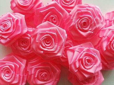 Satin Ribbon Roses Buds 37mm-40mm Buds Flower Craft Applique Hot Neo Pink • 3.99£