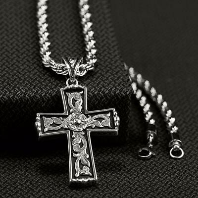 $31.95 • Buy Twister Mens Jewelry Necklace Scroll Cross Rope Chain Silver 32110