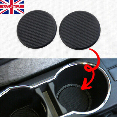 NEW Car Vehicle Water Cups Slot Non-Slip Carbon Fiber Look Mat Accessories Set • 3.67£