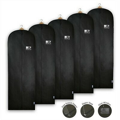 Black Dress Bags Covers Long Garment Clothes Breathable Storage Travel Carrier • 6.99£
