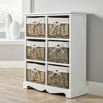 White Wooden 6 Drawer Chest Storage Unit Willow Wicker Baskets Organiser Hallway • 75.99£