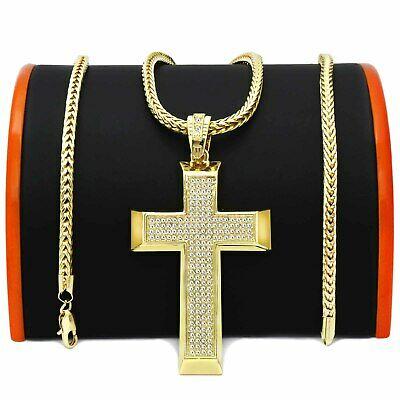 $29.99 • Buy Mens 14k Gold Plated  CROSS  Pendant With 4mm 30 Inch Franco Chain