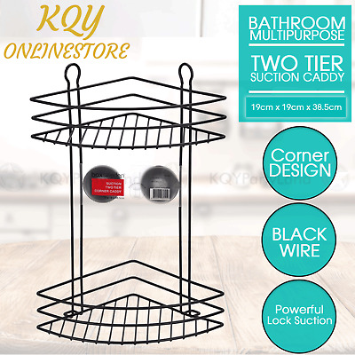AU24.95 • Buy Suction Corner Shower Caddy Black Wire 2 Tier Bathroom Basket Rack Shelf Storage