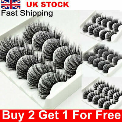 5 Pairs 3D Natural False Eyelashes Long Thick Mixed Fake Eye Lashes Makeup Mink • 5.59£
