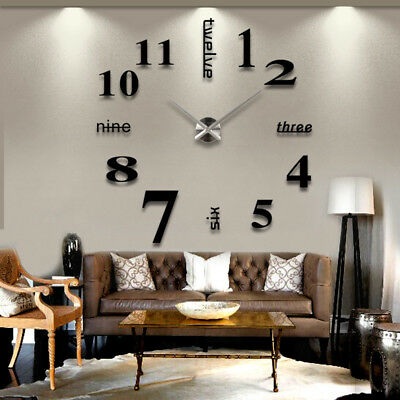 DIY 3D Large Wall Clock Frameless Mirror Number Sticker Modern Art Decal Decor • 7.99£