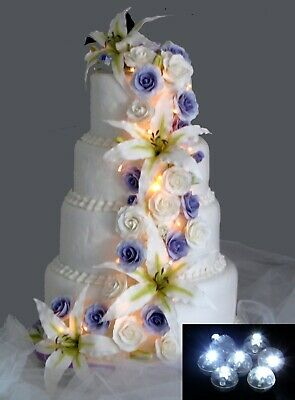 £3.89 • Buy Light Up Your Wedding Cake Decorations Toppers W/ 5 Spot Lights -Various Colours